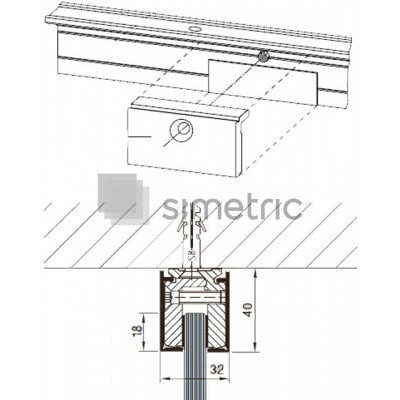 DORMA LM - Sina perimetrala cu cleme de prindere 32 X 40 - Profil pentru compartimentare sticla 10 mm - 6 ml