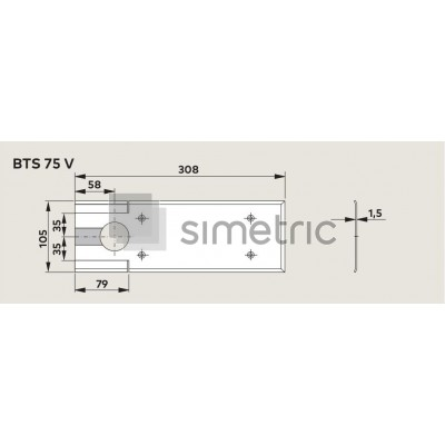 Capac amortizor de pardoseala Dorma BTS 75V, finisaj INOX - 46.700.060