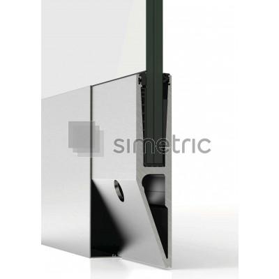 Profil suport lateral pentru balustradele de sticla cu prindere laterala si capac de mascare