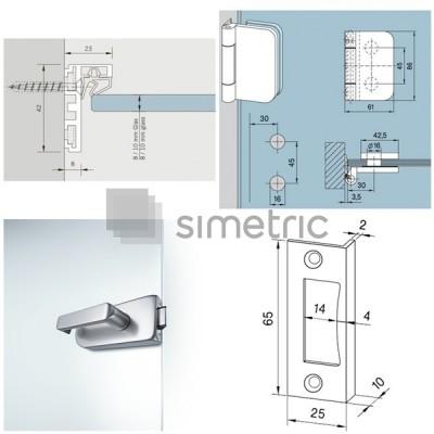 KIT Feronerie usa batanta pentru sticla securizata cu toc din aluminiu Dorma Alexa AT 23 - 5,5 ml