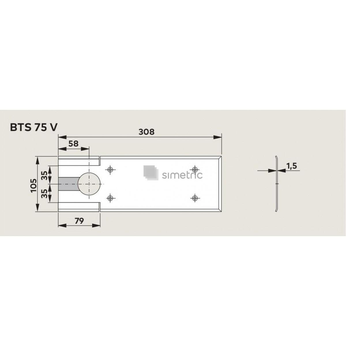 DORMA BTS 75 V - Amortizor de pardoseala cu blocaj la 90 Grade + Insert standard inclus - EN 1-4 - 61701200