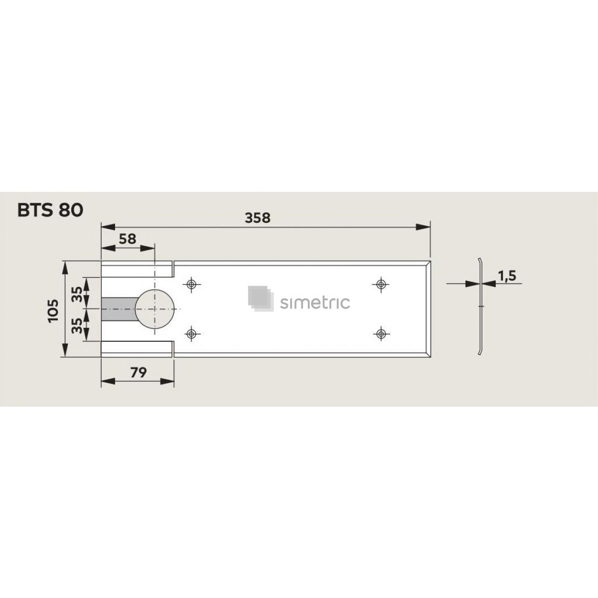 Capac amortizor de pardoseala Dorma BTS 80, finisaj INOX - 46700000