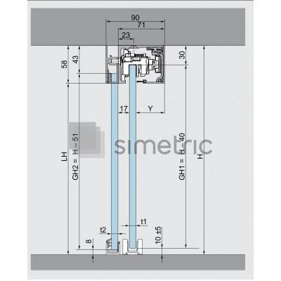 DORMA MUTO COMFORT L 80 - Prindere pe tavan - Set 1 foaie mobila glisanta + 1 foaie fixa laterala - Kit complet cu sina de glisare de la 2180 mm - 36.306