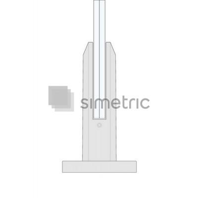 Picior octagonal de baza suport sticla  - Satinat