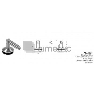 Suport de prindere sticla  pentru copertina din sticla securizata /  laminata - HL31