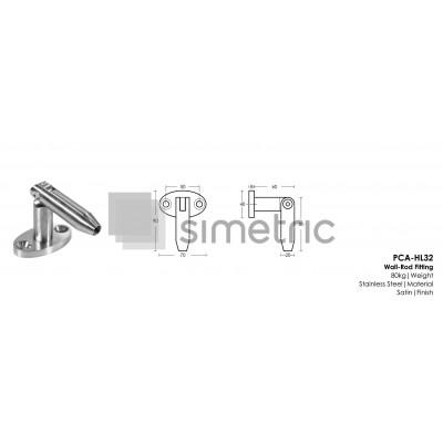 Suport de prindere perete pentru copertina din sticla securizata /  laminata - HL32