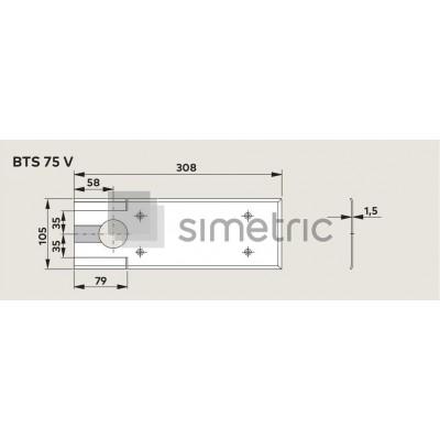 Capac amortizor de pardoseala Dorma BTS 75V, finisaj INOX - 46.700.059