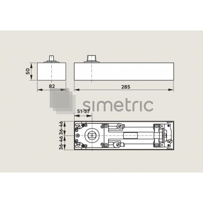DORMA BTS 75 V - Amortizor de pardoseala cu blocaj la 90 Grade - EN 1-4 - 61.801.201
