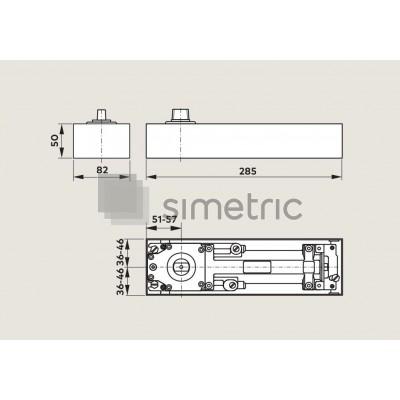 DORMA BTS 75 V - Amortizor de pardoseala cu blocaj la 105 Grade - EN 1-4 - 61.801.301