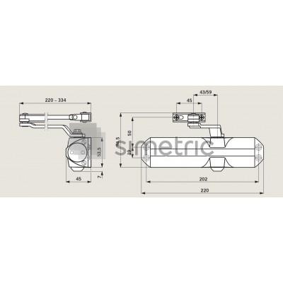 DORMA TS 68 - Amortizor usi interior cu brat cu blocare inclus - trafic usor - EN 2/3/4 - 664002xx