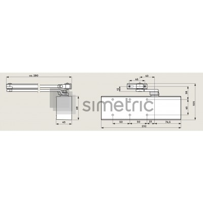 DORMA TS 71 - Amortizor pentru usi de interior - EN 3/4 - 222121xx