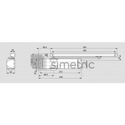 DORMA TS 90 IMPULSE - Amortizor cu canal de glisare - EN 3/4 - 10.200