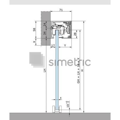 DORMA MUTO COMFORT L 80 - Prindere pe perete - Kit complet cu sina de glisare de 2180mm - 36.300
