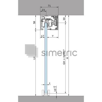 DORMA MUTO COMFORT L 80 - Prindere pe tavan - Kit complet cu sina de glisare de 2180mm - 36.302