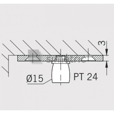 DORMA Universal Light - PT 24 - Pivot superior prindere zid - Grosime placa de fixare 3 mm - 03.623.700