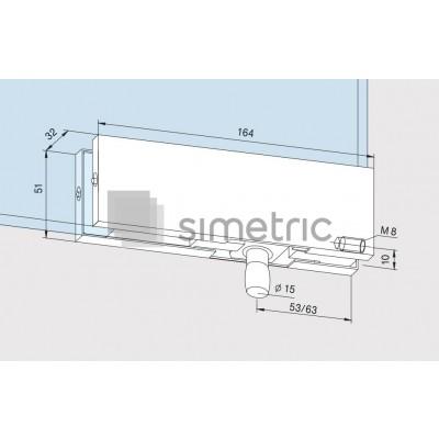 DORMA Universal Light - PT 30 - Balama supralumina prindere perete sticla - Sticla  10 / 12mm - 03.522.700