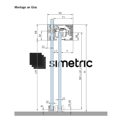 DORMA MUTO COMFORT L 80 DORMOTION - Prindere pe sticla - Kit complet cu sina de glisare de 2287 mm - 36.304