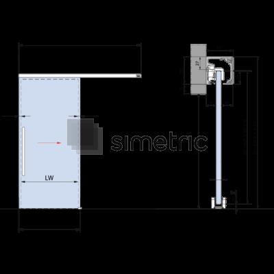 DORMA MUTO COMFORT M 50 - Prindere pe perete - Kit complet cu sina de glisare de 2380mm - 36.101