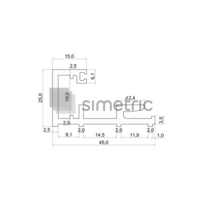 DORMA FLIPP - Profil cu capac si garnitura de etansare, compartimentare cu sticla 8 mm  sau 10 mm - 3 ml