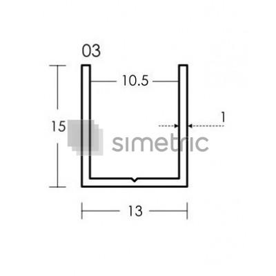 Profil U prindere pe lateral sau jos cu garnitura transparenta - GG03 - 2.2 ML