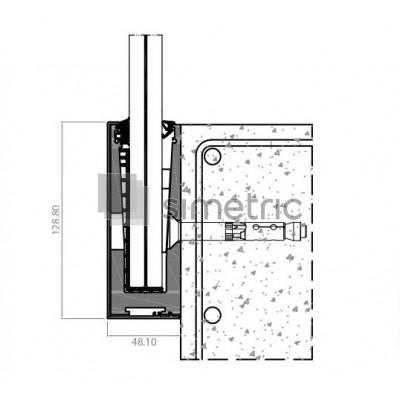 Profil U suport lateral pentru balustradele de sticla cu prindere laterala si capac de mascare