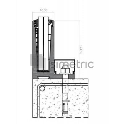 Profil L suport inferior pentru balustradele de sticla cu prindere de pardoseala