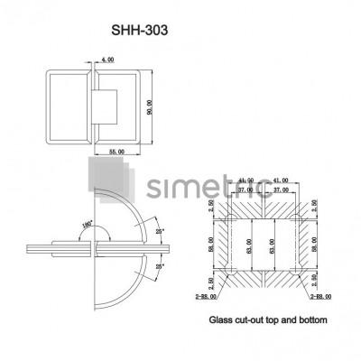 DORMA SHH 303 - Balama cabina dus prindere pe sticla la 180 grade
