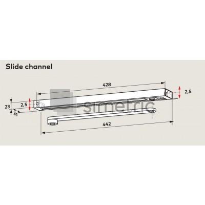 DORMA sina G-N, sina amortizor cu canal glisare pentru TS 91 / TS 92 / TS 93 - 640100xx